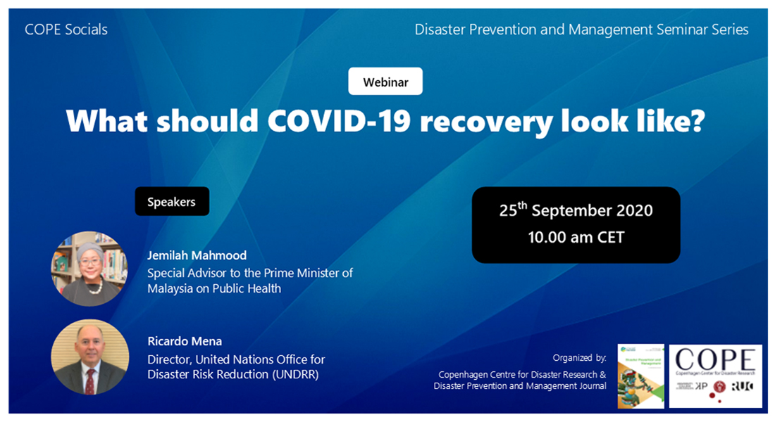 Banner for the Webinar What should COVID 19 recovery look like