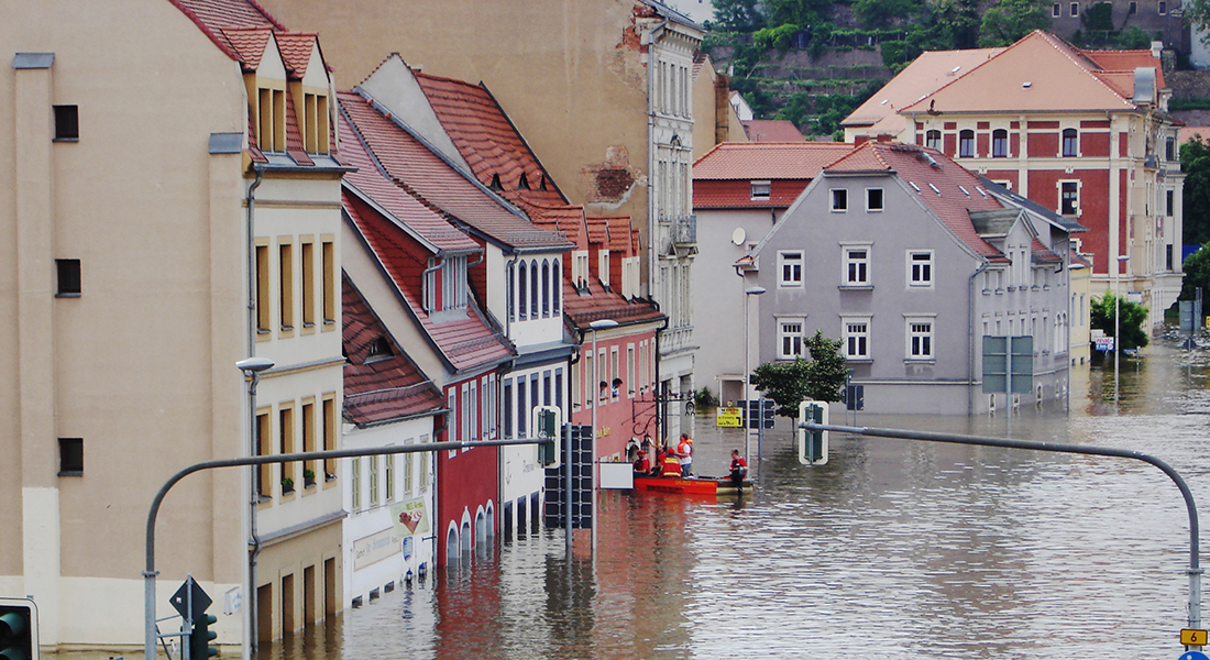 View of a flooded street in a small city